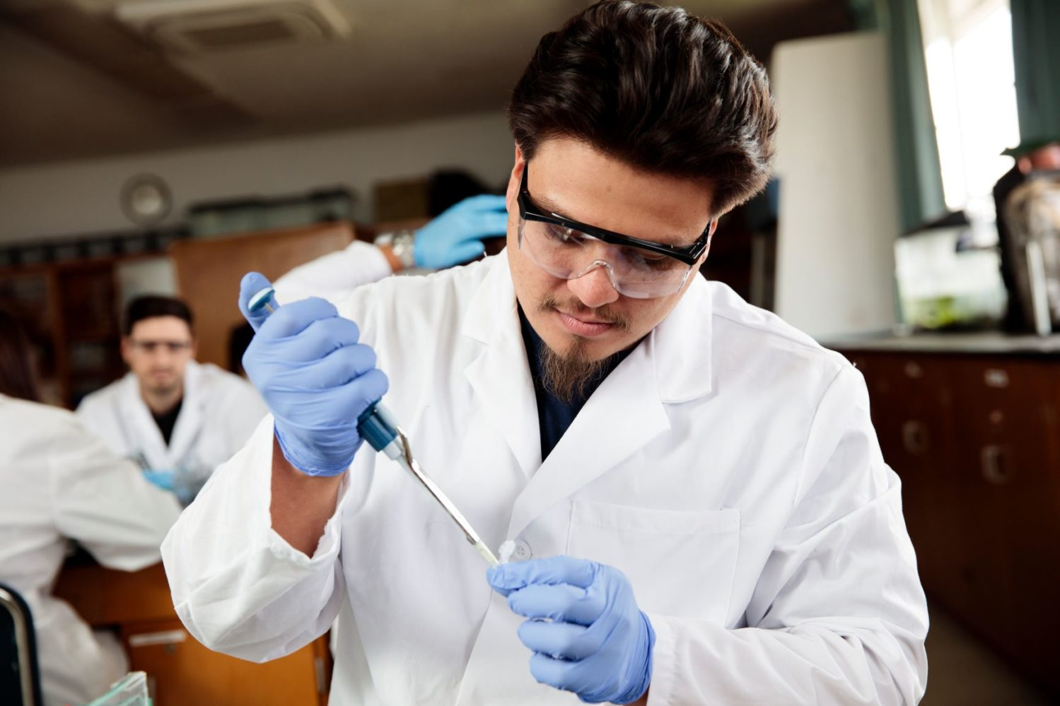 university student in lab