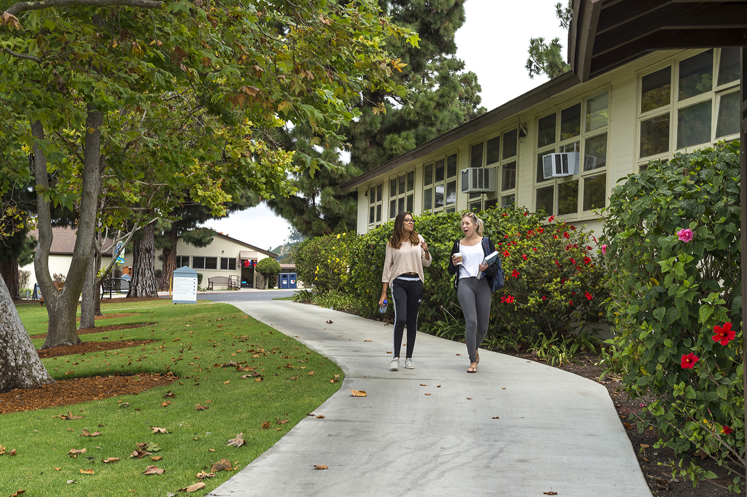 female students walking on campus