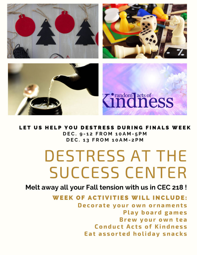 event poster - destress at the success center