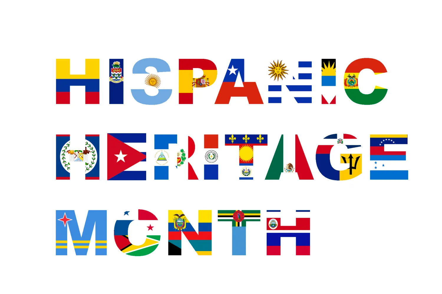 The words HISPANIC HERITAGE MONTH made from flags from hispanic countries.