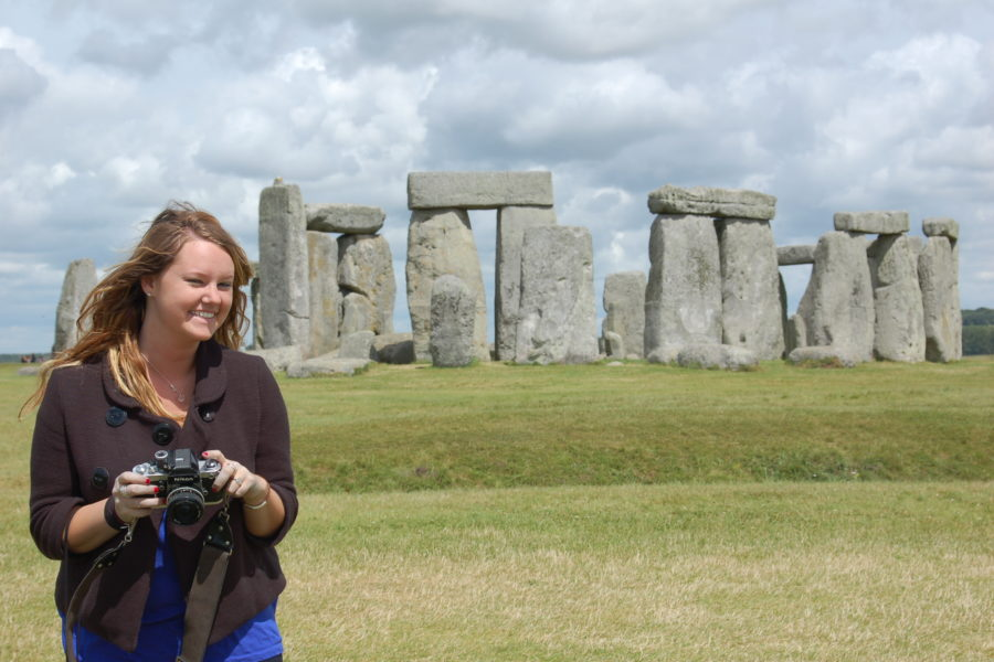 student at Stonehenge