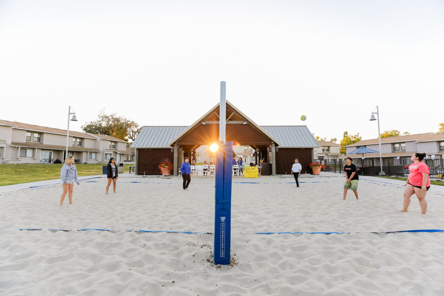 beach volleyball court at residential campus