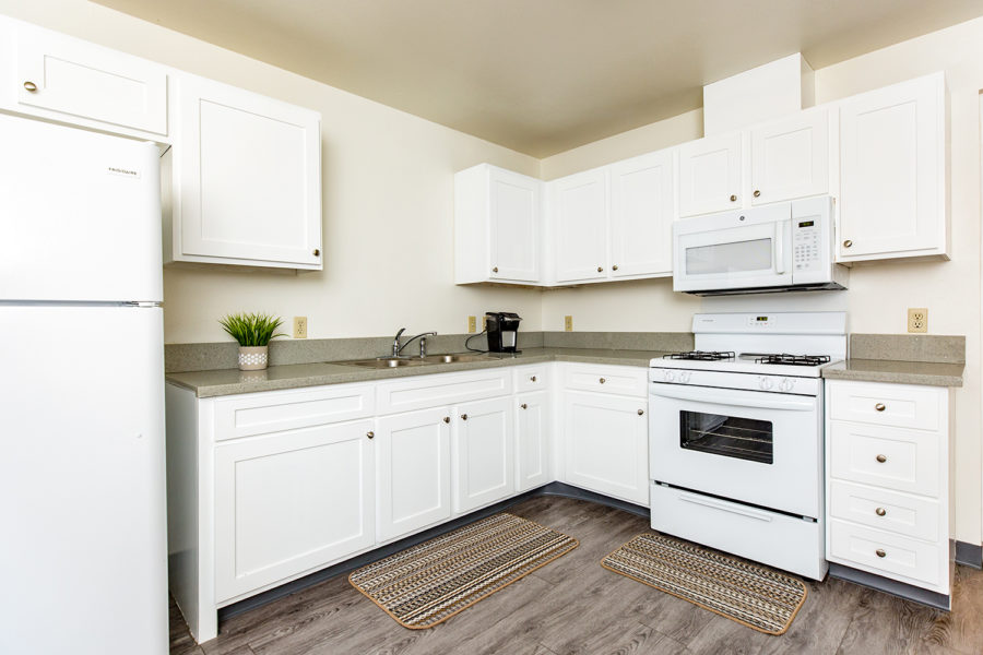 kitchen in student residence at The Villas