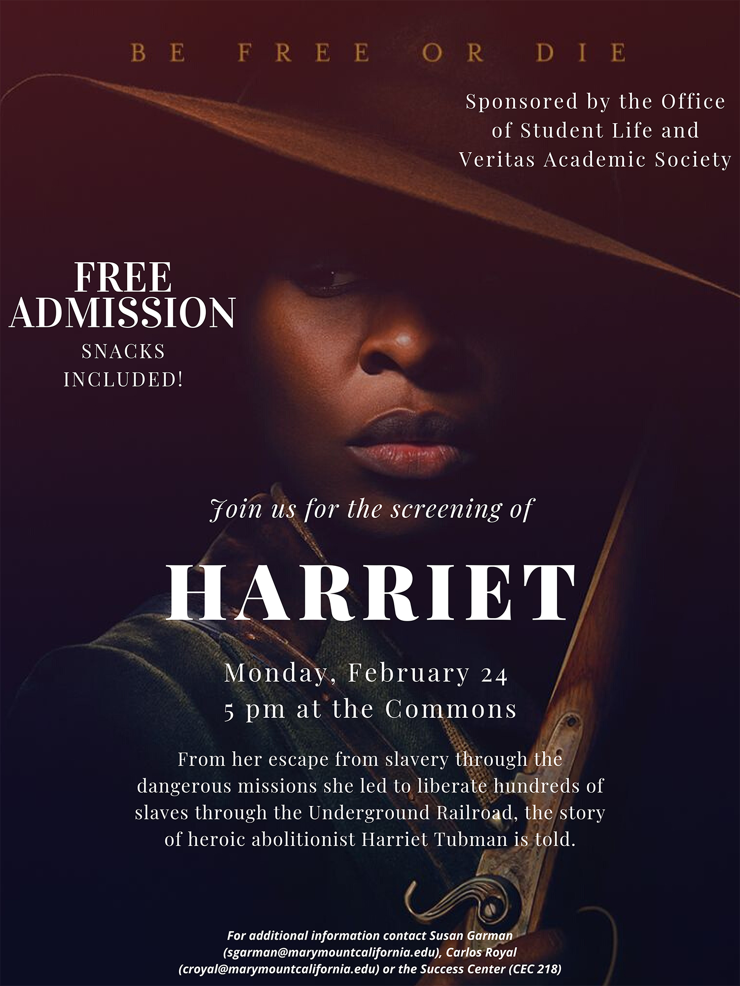 Poster for the screening of Harriet movie