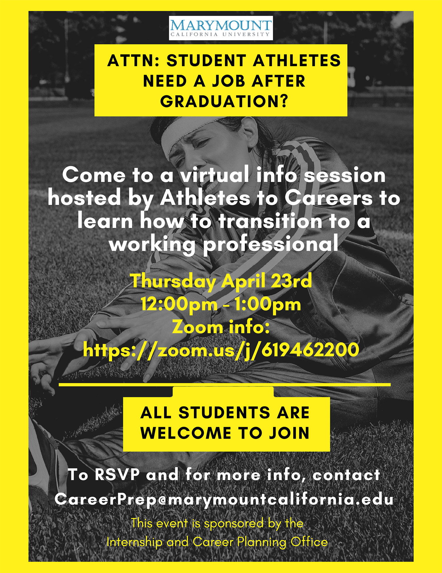 Athletes to Careers info session poster