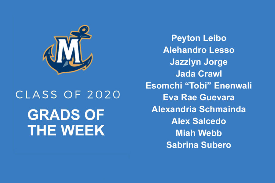 listing of all of the 2020 grads of the week at MCU