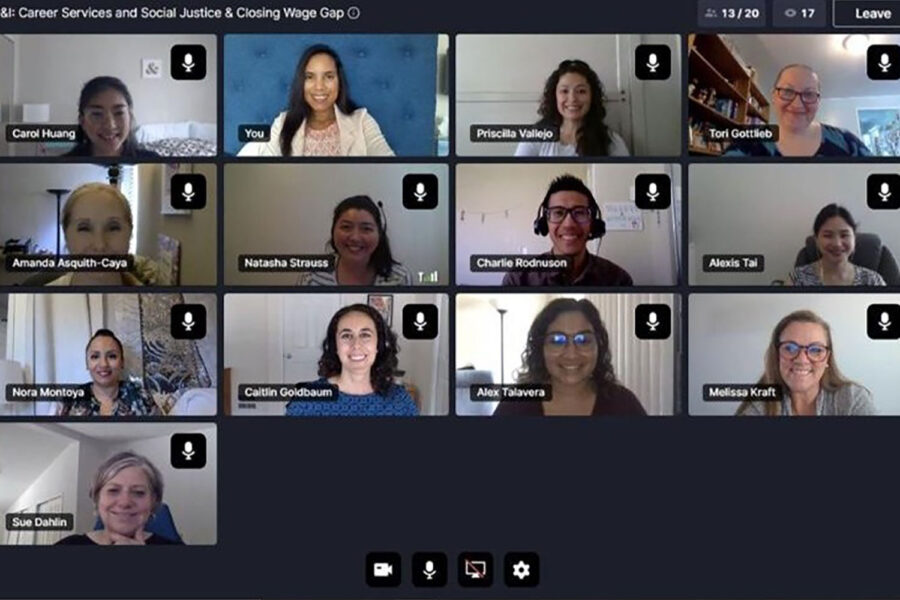 students on Zoom with Internship and Career Planning office