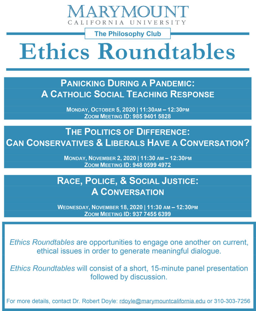 Ethics Roundtables Fall 2020 poster
