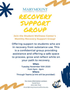 Recovery Support Group poster Nov 2020