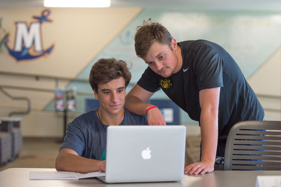 male students looking at computer