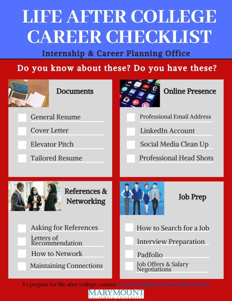 Life after college career checklist