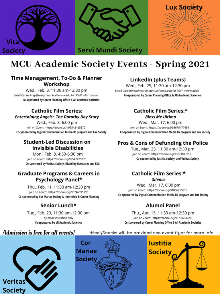 Academic Societies' Events Spring 2021