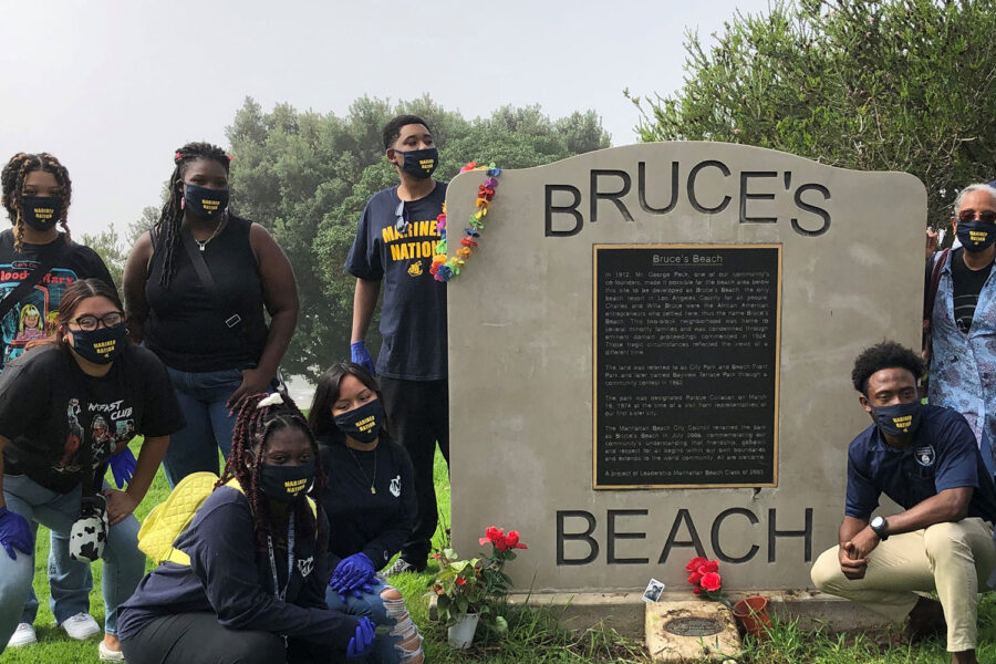 Students at Bruce's Beach