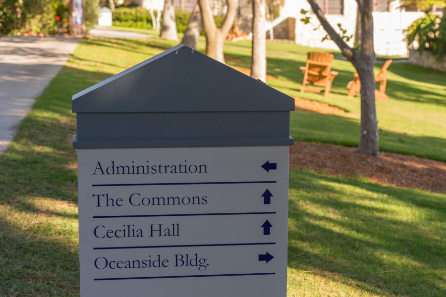 way-finding sign at MCU
